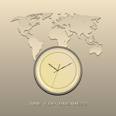horologe: Card with global map and clock reminiscent of the time for business. Vector illustration.
