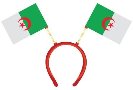 Cheerful headdress for the holiday with flag Algeria. Vector illustration.
