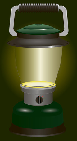 Included battery lantern with switch for travel and camping.