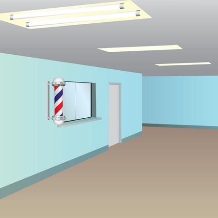 barbershop: Window and door to the reception barbershop.