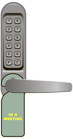 lockout: Door handle with combination lock and signboard In a Meeting.