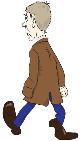 The man in the brown coat. Cartoons drawn without trace. 일러스트