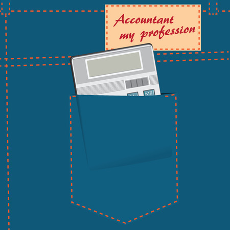 Calculator in the back pocket of denim trousers and an inscription on the label. Vector illustration.