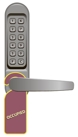 occupied: Door handle with combination lock and signboard Occupied. Vector illustration.