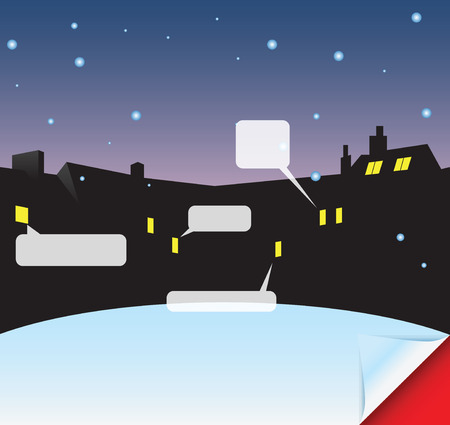 Tarjeta del invierno con el espacio para los mensajes. Ilustración vectorial sin dejar rastro. Foto de archivo - 31803156