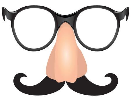 scoundrel: Trucco Witty - mascalzone baffi, naso e occhiali. Vettoriali