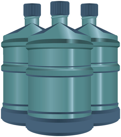 A set of plastic water bottles with lids.