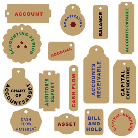 payable: Big set of accounting shortcuts. Vector illustration.