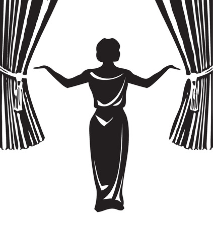 actress: Actress on stage in front of an open curtain. Vector illustration.