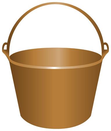 Bucket for construction work metal. Vector illustration. Ilustração
