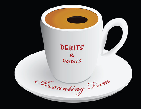 Coffee cup with text accounting firm Credit and Debit. Vector illustration. Ilustração