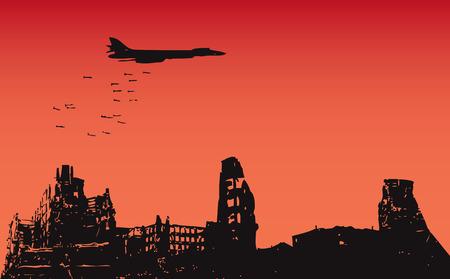 Het vliegtuig daalde bommen over de verwoeste stad. Vector illustratie. Stock Illustratie