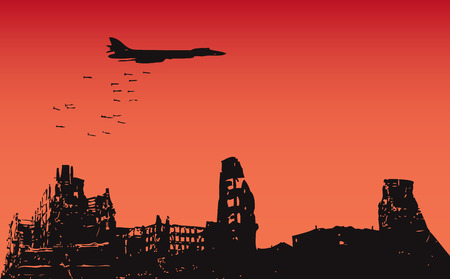 The aircraft dropped bombs over the destroyed city. Vector illustration.