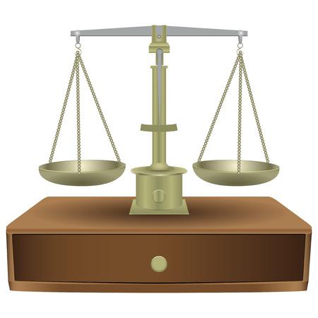 retribution: Vintage balanced scales with wooden drawer. Vector illustration. Illustration