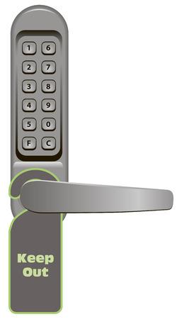 ドアハンドルの組み合わせロックと立入禁止看板。ベクトル イラスト。