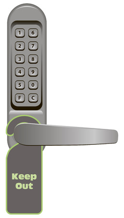 door knob: Door handle with combination lock and signboard Keep Out. Vector illustration. Illustration