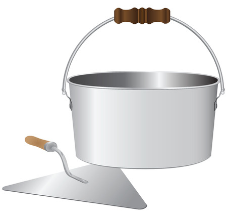 Bucket and trowel bricklayer for mixing cement mortar. Vector illustration.  イラスト・ベクター素材