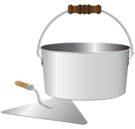 Seau et une truelle maçon pour mélanger le mortier de ciment. Vector illustration. Banque d'images - 32151252