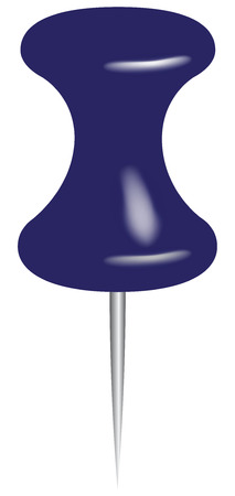 Blue office pin to lock documents on the billboard. Vector illustration.