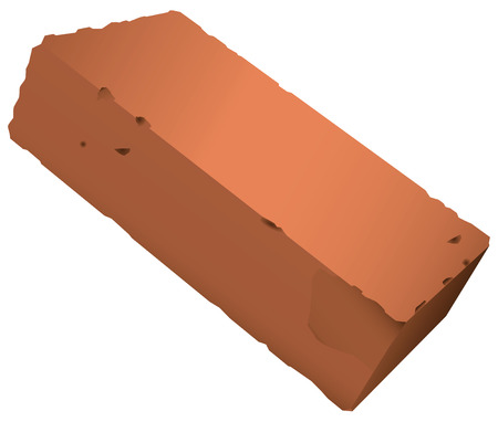 Standard brick from red clay. Vector illustration.