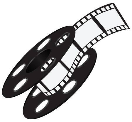 film industry: Industrial wide film strip on the reel. Vector illustration.