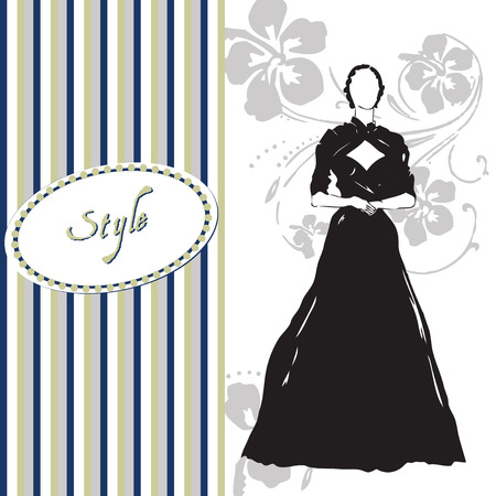 Greeting card style of dress. Vector illustration.
