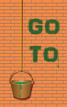 Go to the message on the wall of the house. Vector illustration.