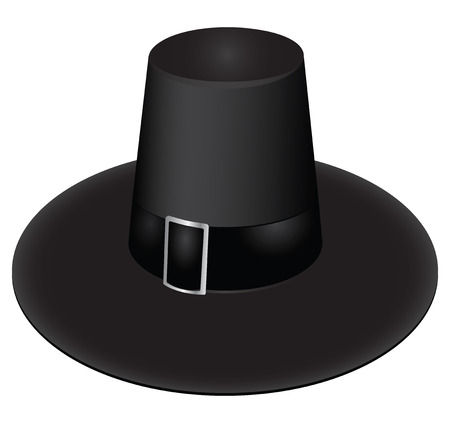 brimmed: Irish black hat with a buckle. Vector illustration.