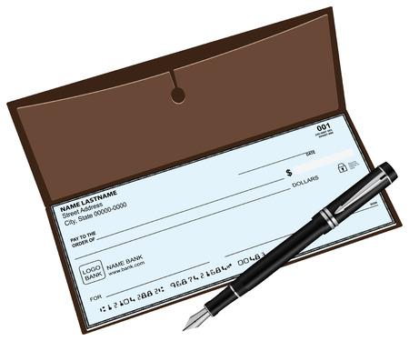 chequera: Talonario de cheques con una pluma estilográfica. Ilustración del vector.