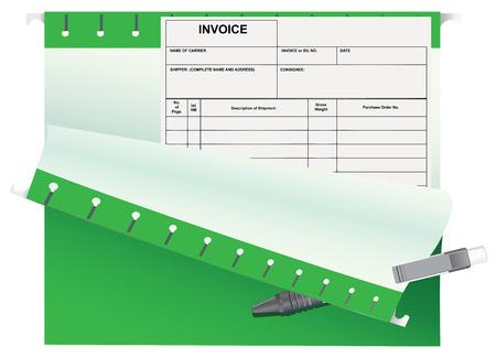 Accounting invoice in the office folder. Vector illustration. Ilustração