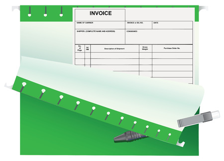 Accounting invoice in the office folder. Vector illustration. Illustration