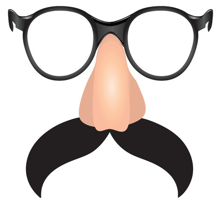Large mustache with plastic nose and glasses. Vector illustration.