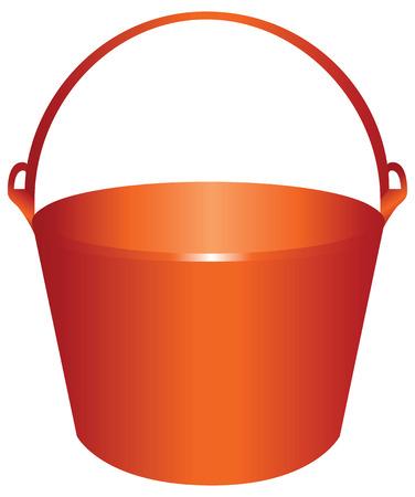 Red plastic bucket for construction works. Vector illustration. Ilustração