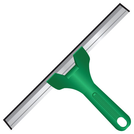 scraper: Scraper for cleaning windows with rubber tread. Vector illustration. Illustration