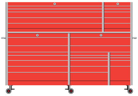 Stationary metal tool box on wheels. Vector illustration.