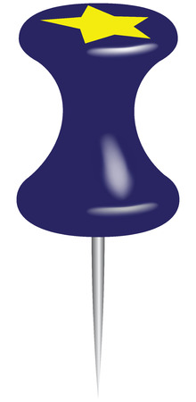 Blue office pin with a star on top. Vector illustration.