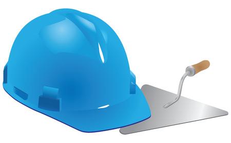 mason: Helmet and trowel mason - professional construction company. Vector illustration.