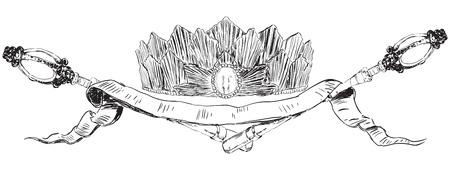 scettro: Simboli araldici di autorit� scettro con corona. Illustrazione vettoriale.