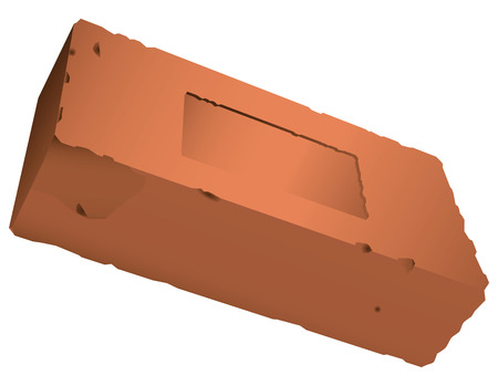 Brick from red clay with a recess. Vector illustration.
