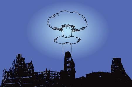 bombing: La explosi�n de la bomba at�mica sobre la ciudad. Ilustraci�n del vector.