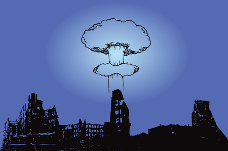 The explosion of the atomic bomb over the city. Vector illustration. Ilustrace