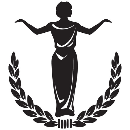 Theatrical emblem - woman actor framed by a laurel wreath. Vector illustration.