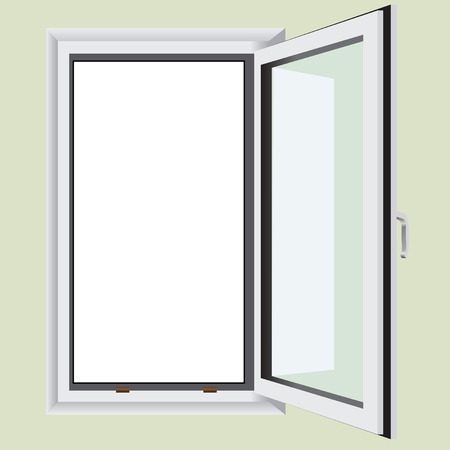Single leaf window built into the wall. Vector illustration.