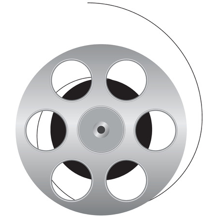 film industry: Cinematographic film is wound onto the spool. Vector illustration. Illustration