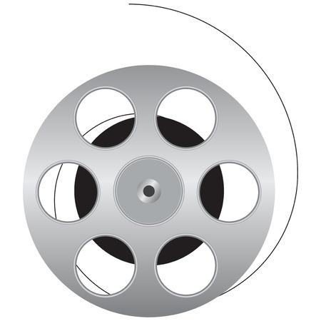 cinematografico: Pel�culas cinematogr�ficas se enrolla en el carrete. Ilustraci�n del vector. Vectores