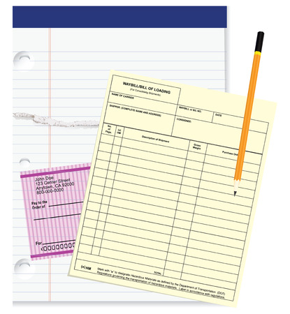 Bank check and waybill blank with notepads. Vector illustration. Vector