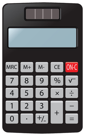 Simple pocket calculator for home and office use. Vector illustration.