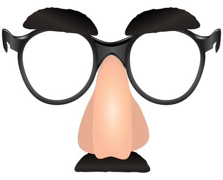 Witty makeup - eyebrows nose with glasses and a mustache. Vector illustration.