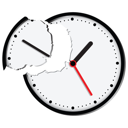 Stylized clock face with broken lines break. Vector illustration.