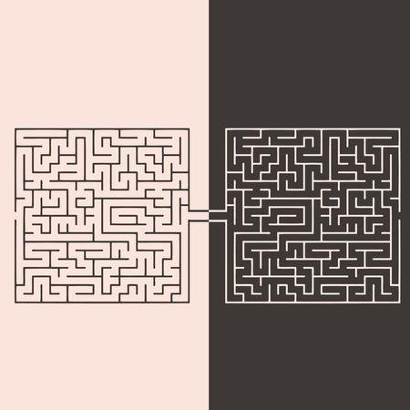 反対: 対立の迷路、反対意見のアイデア。ベクトル イラスト。